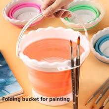 Silicone pencil washing bucket 4 colors retractable portable mini multi-function brushable pen foldable large capacity bucket