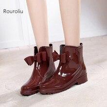 New 2016 Women Fashion Bowtie Ankle Rain Boots Flat Heels Non-slip Glossy Rainboots Waterproof PVC Woman Water Shoes #TR119
