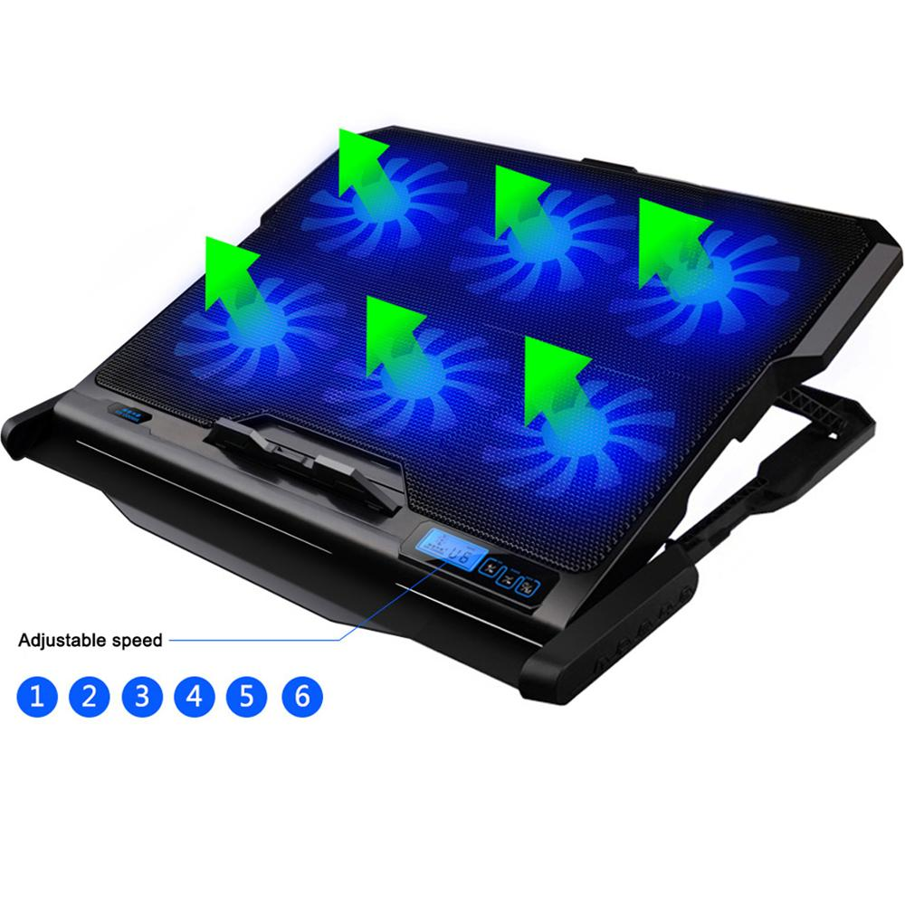 ICE COOREL K6 Laptop Cooler Six Cooling Fan Strong Wind Speed Gaming Pad Notebook Stand For 12-15.6 inch
