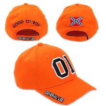 General lee 01 cosplay chapéu bordado algodão laranja bom olboy boy dukes boné de beisebol ajustável