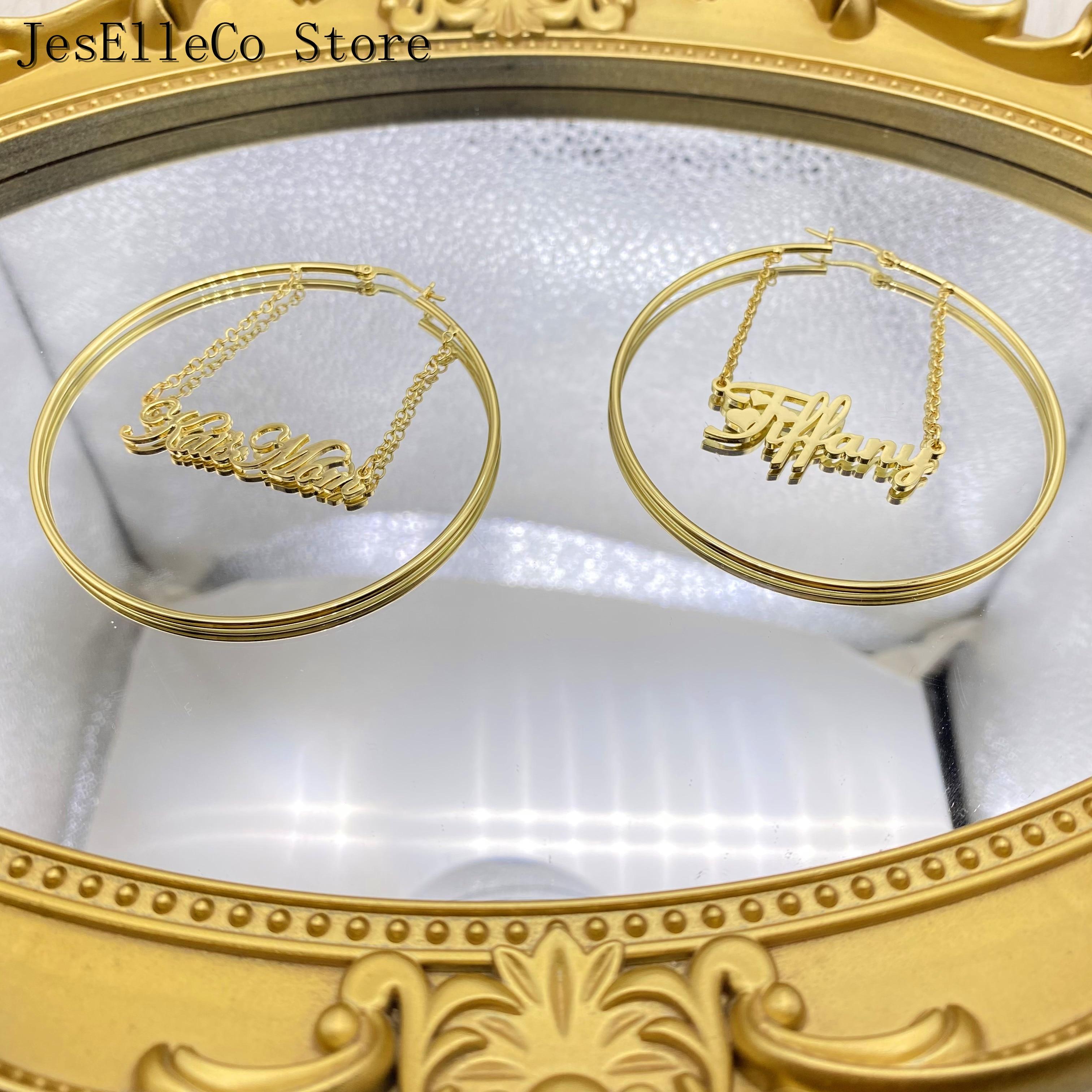 Custom Earrings PersonalizeName Stainless Steel Letter Earrings For Women 3 Color Custom Name Circle Earrings Weddings Jewelry
