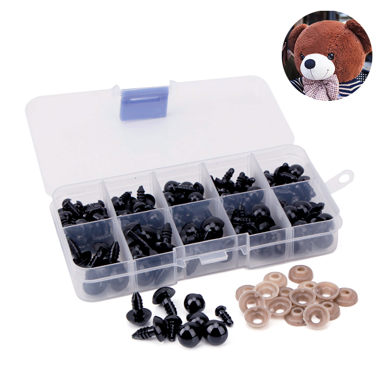 100 pçs 6-12mm diy olhos boneca plástico preto artesanato olhos de segurança para urso de pelúcia brinquedo macio animal boneca amigurumi diy acessórios
