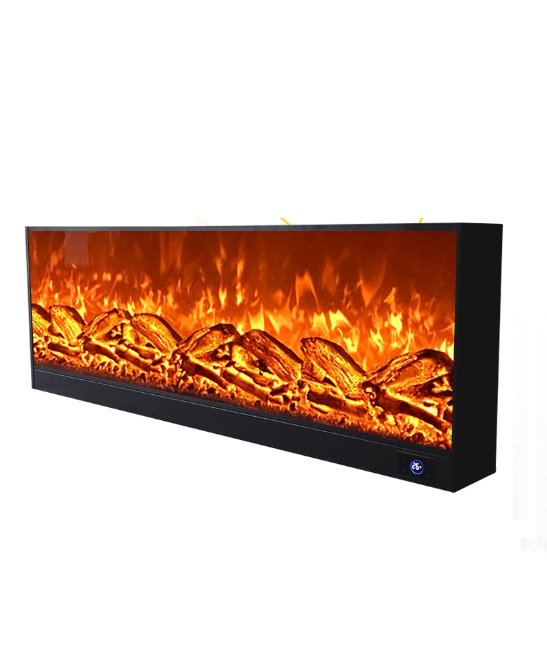 Electric LED Fireplace Realistic Natural Flame / Substition Of Linear Gas Fireplaces /5 Flame Intensity Setting, 2 Stage Heater