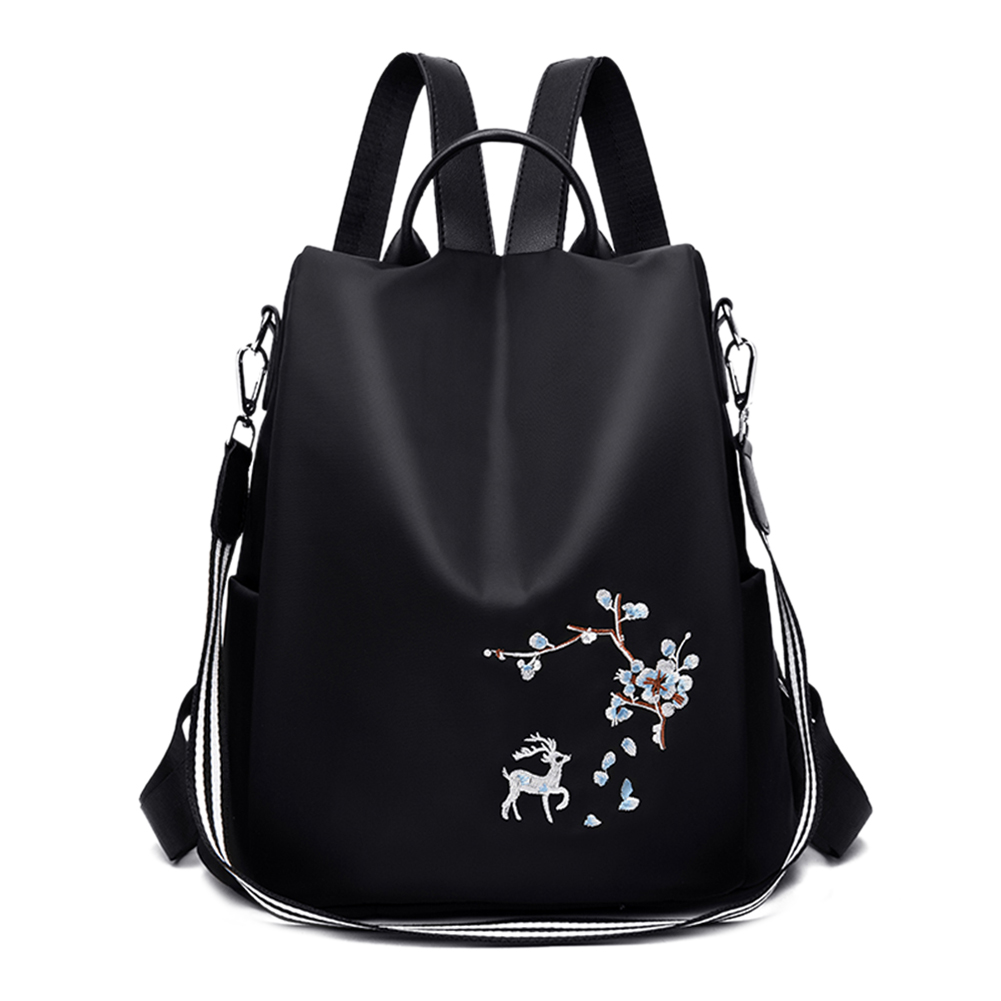 Oxford Women Backpack Teenager Girls Student Embroidery Print School Shoulder Bags Anti-theft Travel Casual Knapsack Mochila