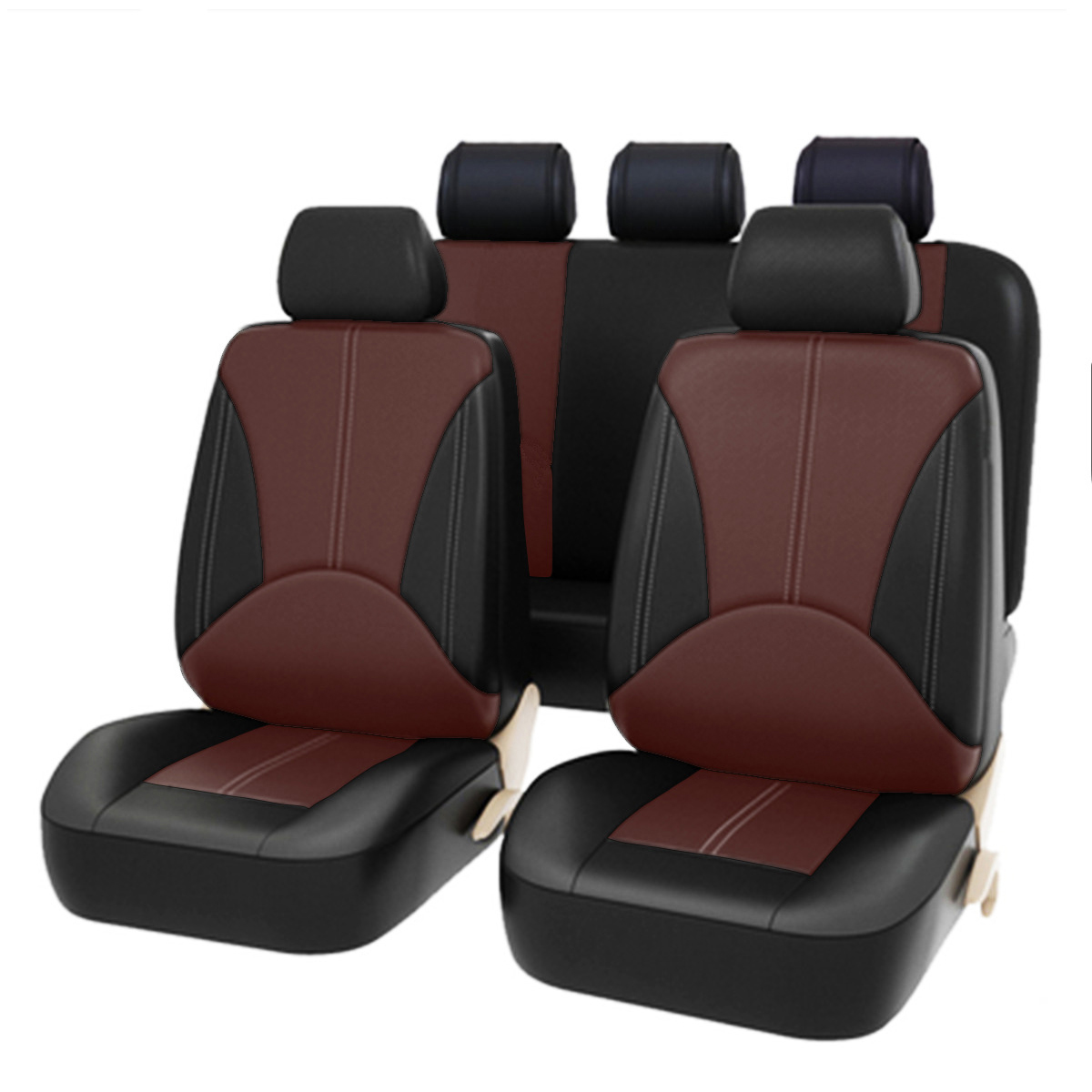 9PCS Universal Auto Seat Cover Front Back Head Rest Protector Wear-Resistant Covers Black PU Leather For 4 Season Car Seat Cover