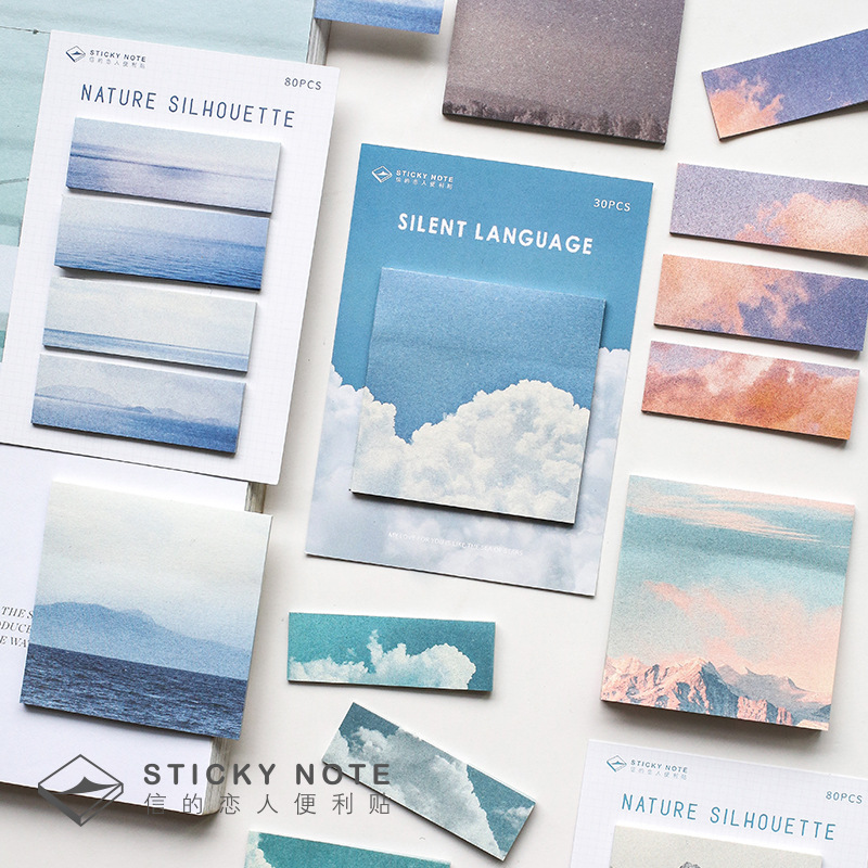 2020 New 80/30 Pcs Cute Sky Sticky Notes Kawaii Memo Pad Diy Decorative Stickers Scrapbooking Stationery School Office Supplies