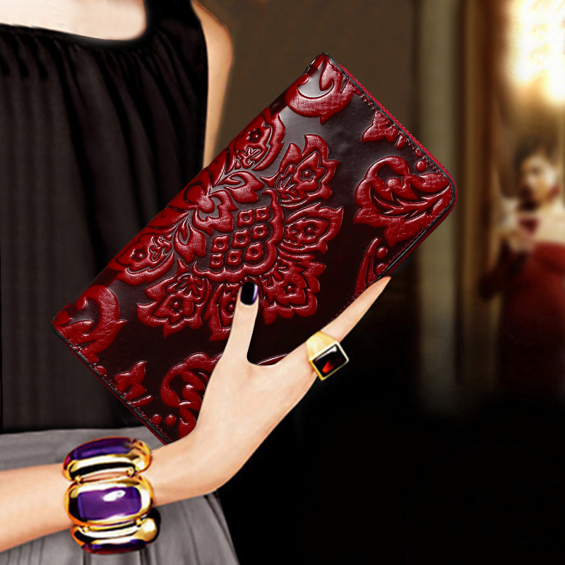 Ladies Luxury Premium Waxed Leather Wallet Clutch Bag Essential Oil Unique Embossed Famous Brand Style Long Ladies Wallet Purse