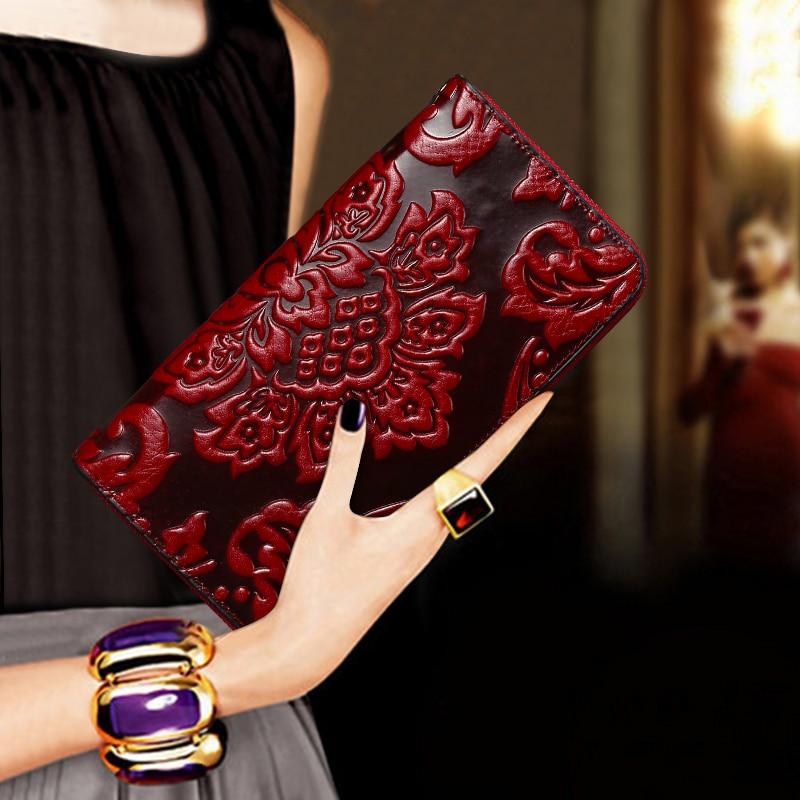 Ladies Luxury Premium Waxed Leather Wallet Clutch Bag Essential Oil Unique Embossed Famous Brand Style Long Ladies Wallet Purse