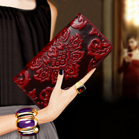 Women Luxury Sac A Main Femme New Leather Wallet Clutch With 3D Leather Engraved Leather Tote And Wallet Ladies Wallet Purse