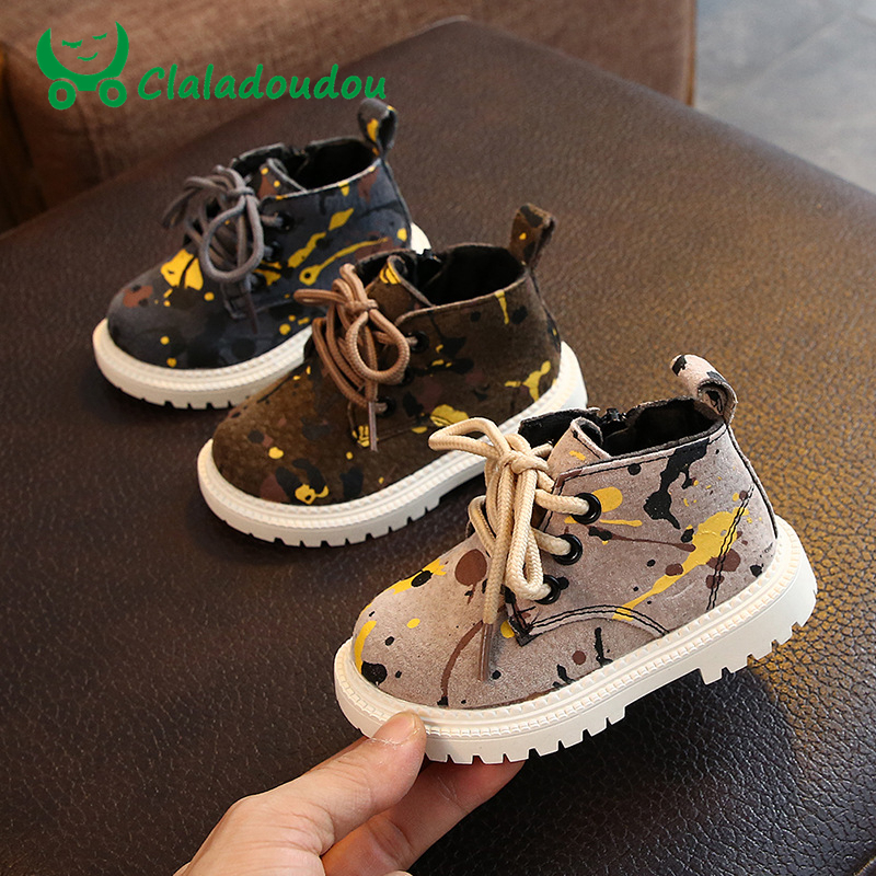 Claladoudou 12-14cm Brand Baby Boys Casual Fashion Boots For Autumn Early Winter Leopard Rome Toddler Girls Ankle Boots For 0-2Y