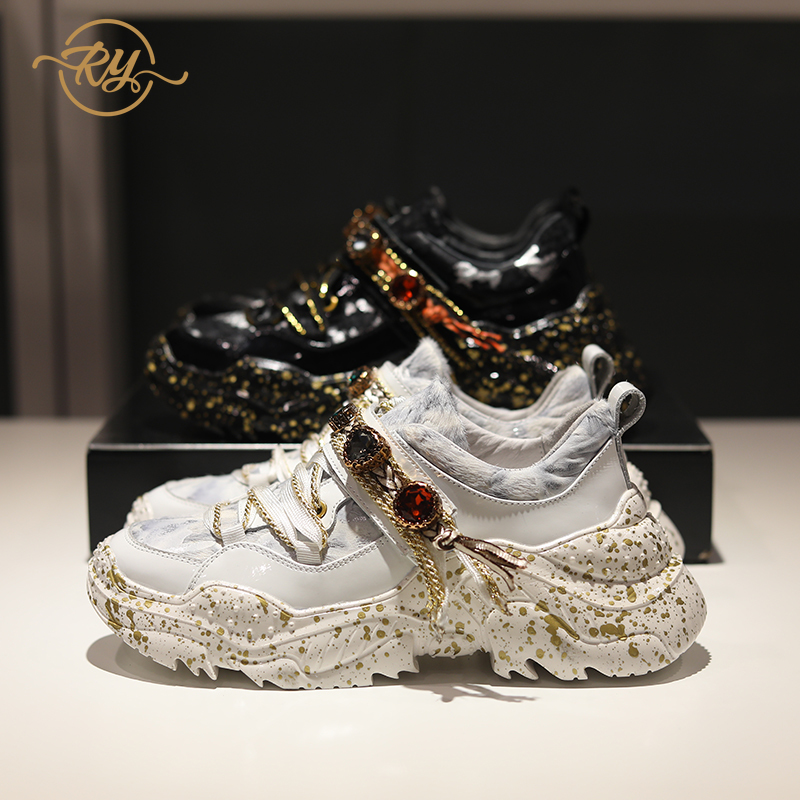 RY-RELAA Women Fashion Sneakers Women 2018 Luxury Genuine Leather Womens Shoes INS Style Rhinestone White Shoes Glitter Sneakers