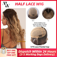 Wigs Human-Hair Half-Lace-Wig Women Long Straight MW for 20-Inches 50cm Frontal Pre-Plucked