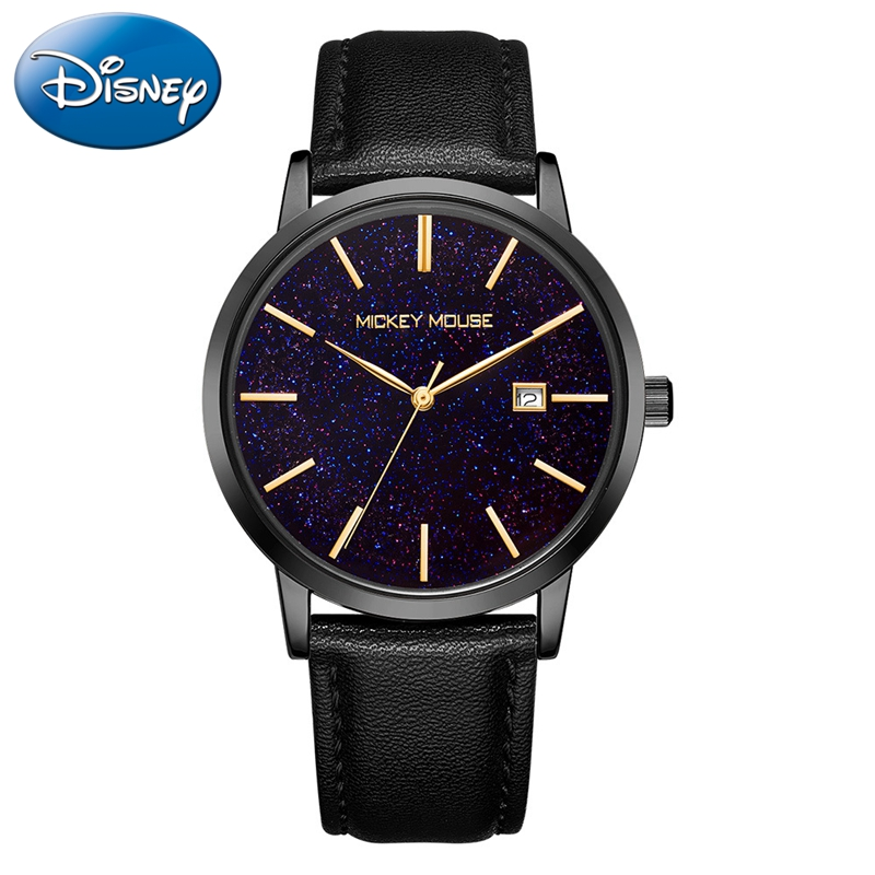 Men Mesh Stainless Steel Watch Quartz Fashion Business Mens Watches Bling Starry Luxury Top Brand Disney Calendar Clocks Mickey