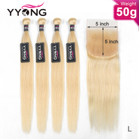 YYong 50g 5/ 6 Lot 613 Bundles With 5x5 Closure Remy Human Hair Honey Blond 613 Brazilian Straight Lace Closure With Bundles
