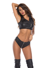 Exotic Tank underwear lacquer leather two pieces of machine clothes love underwea latex top sexy women
