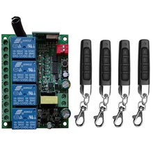 Smart Multiple AC110V 220V 230V 10A 433 MHz 4CH 4 CH 4 Channel Wireless Relay RF Remote Control Switch Receiver+Transmitter