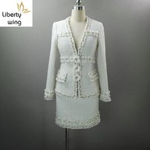 Luxury Elegant Lady White Flower Patchwork Tweed Jacket Wrap Skirt Two Piece Set Women Outfits Pearls Beading V Neck Office Suit(China)