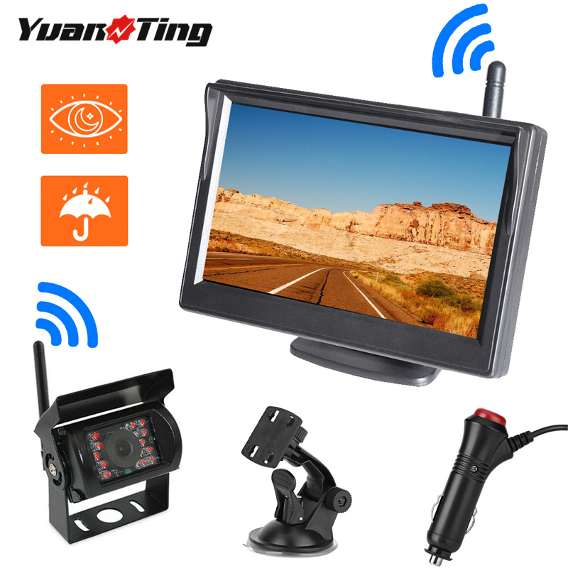 YuanTing беспроводной автомобильный 5-дюймовый ЖК-монитор экран резервная Водонепроницаемая камера заднего вида парковочная система для автоб...