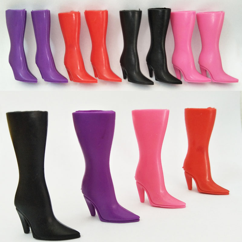 4 Colors Fashion High Heel <font><b>Shoes</b></font> For Barbie <font><b>Doll</b></font> Long Boots For Barbie Dollhouse 1/6 <font><b>Doll</b></font> Accessories Kids Toy <font><b>BJD</b></font> <font><b>Dolls</b></font> image