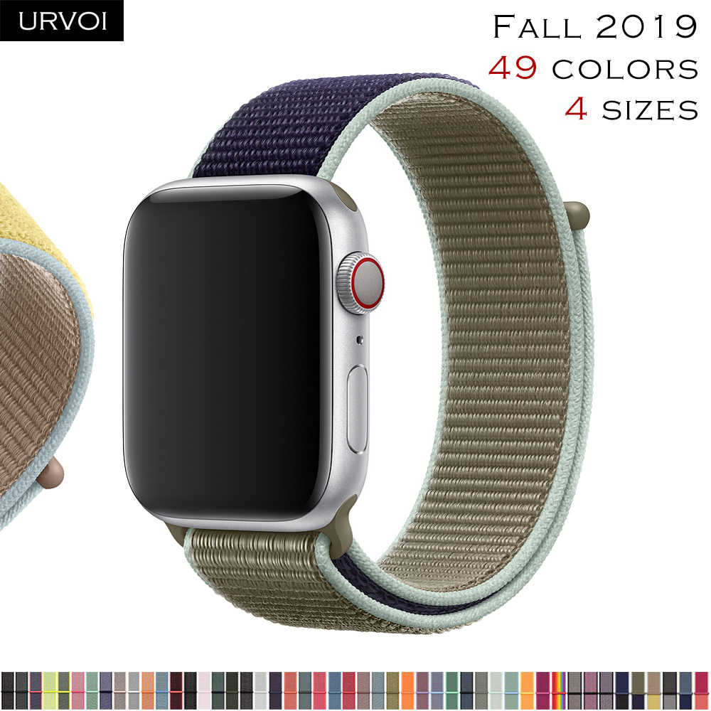 URVOI Sport loop for apple watch 4 5 3 2 band reflective strap for iWatch band double-layer HOOk&LOOP 2019 Fall Alaskan Blue