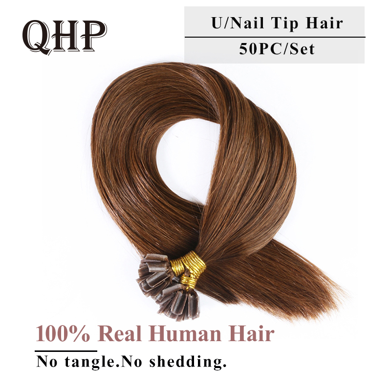 Qhp Hair Straight Keratin Human Fusion Hair Nail U Tip Machine Made Remy Human Hair Extensions 1g/ps 50g Muti-color To Invigorate Health Effectively