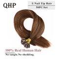 Волосы QHP прямые кератиновые человеческие волосы для наращивания ногтей с U-образным кончиком, человеческие волосы для наращивания 1 г/шт. 50 ...