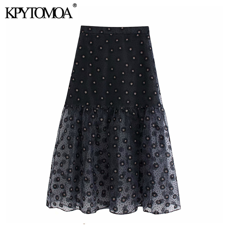 Vintage Sexy Transparent Print Organza Midi Skirt Women 2020 Fashion High Elastic Waist Ruffled Female Skirts Chic Faldas Mujer