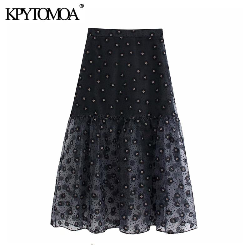 Vintage Sexy Transparent Print Organza Midi Skirt Women 2020 Fashion High Elastic Waist Ruffled Female Skirts Chic Faldas Mujer