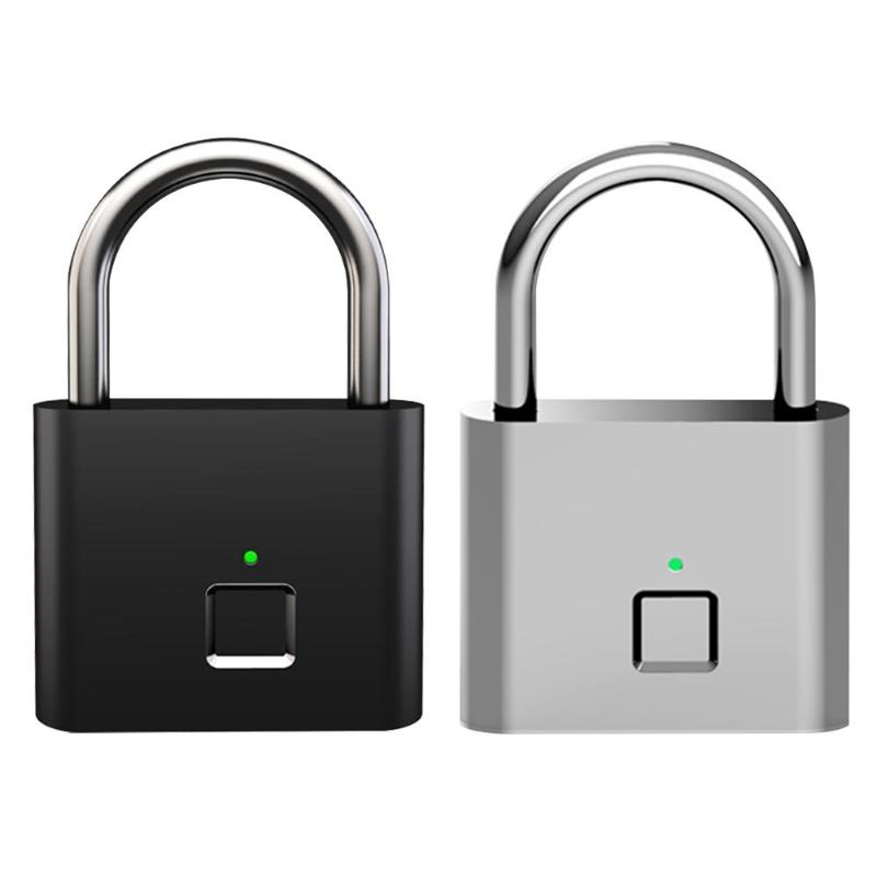 Security Keyless Fingerprint Padlock USB Rechargeable Zinc Alloy Anti-Theft Safety Door Smart Padlock Portable Luggage Lock New