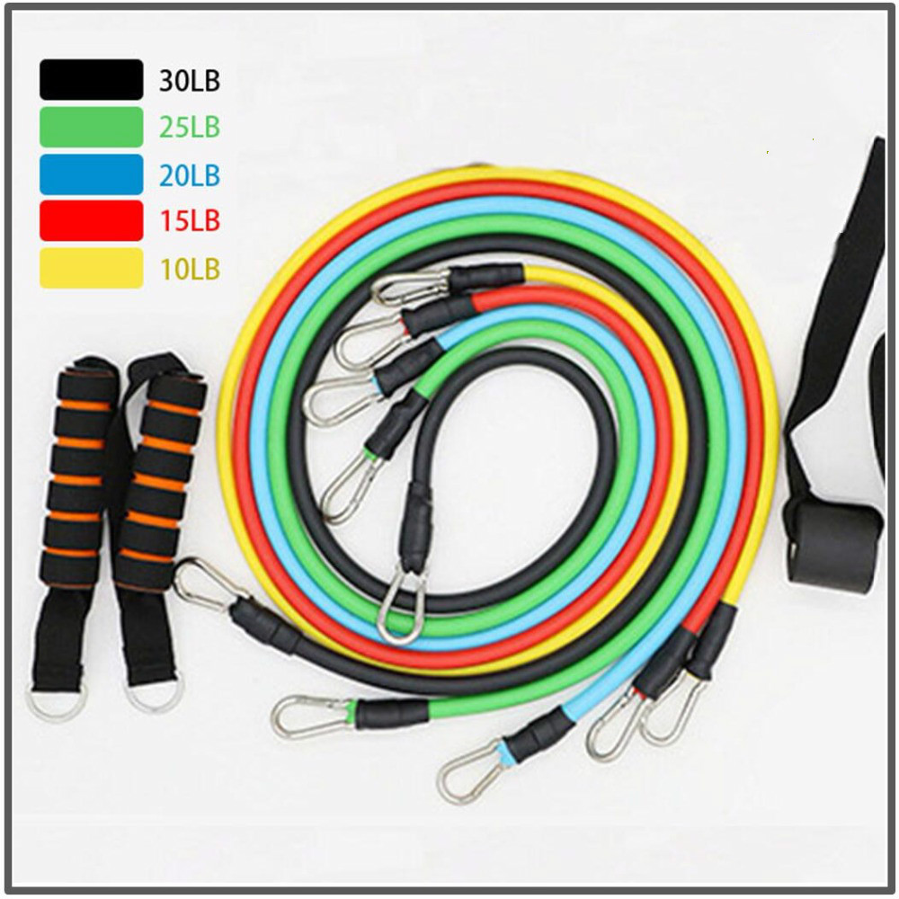 Latex Resistance Bands Crossfit Training Exercise Yoga Tubes Pull Rope,Rubber Expander Elastic Bands Fitness With Bag 11 Pcs/Set