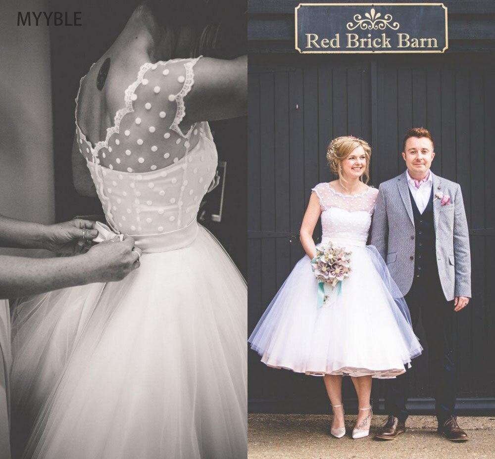 MYYBLE Vintage 1950's Polka Dotted Short Wedding Dress Tea Length Dresses 2019 Vestidos De Novia Summer Beach Little Bridal Gown