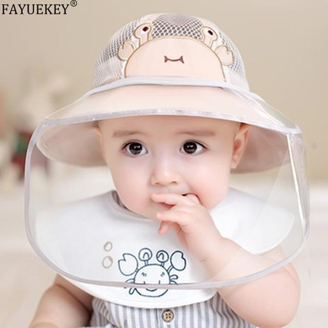 Baby Infant boy Girl Sun Hat summer mesh Cotton Children Kids Bucket Cap Eye Face shield Protection mask  removable Anti-saliva