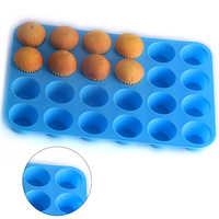 Mini taza de Muffin 24 agujeros jabón de silicona galletas Cupcake hornear Mini molde para pasteles bandeja molde casa DIY pastel molde herramienta para repostería