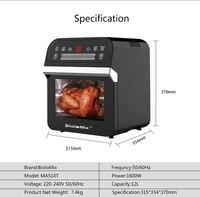 BioloMix 12L 1600W Air friteuse four grille-pain rôtissoire et déshydrateur avec LED écran tactile numérique, 16-en-1 four à poser 6