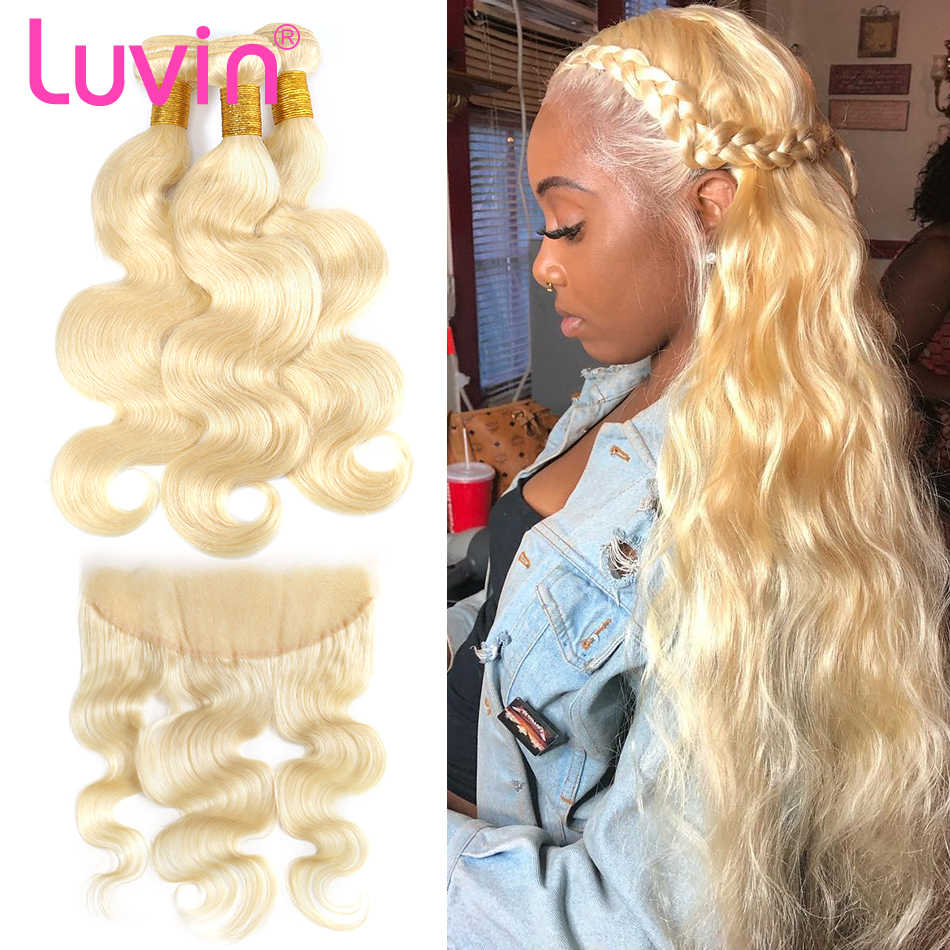 Body wave 28 30 32 40 Inch Brazilian Remy Human Hair Weave 613 Blonde 3 4 Bundles With13x4 HD Transparent Lace Frontal Closure