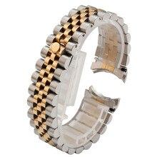 Люксовый бренд, 20 мм, 316L, нержавеющая сталь, Юбилейный, серебряный, два тона, ремешок для наручных часов, браслет, твердые винтовые звенья, изогнутый конец, A53