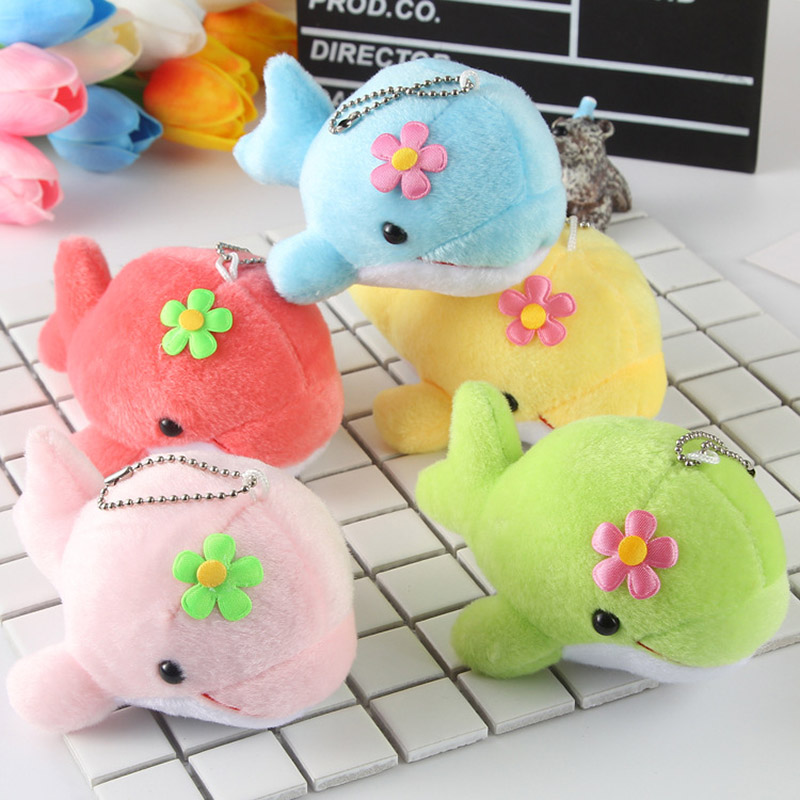 13CM Dolphin Plush Toys Doll Cute Plush Keychain Company Activities Small Prize Gifts Kids Children Mobile Phone Bag Pendant Q09