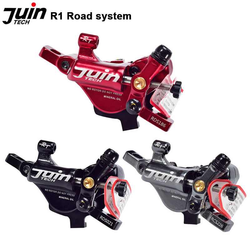 Fast Shipping JUIN TECH R1 Hydraulic Disc Brake set 160mm w// Rotor Red F+R