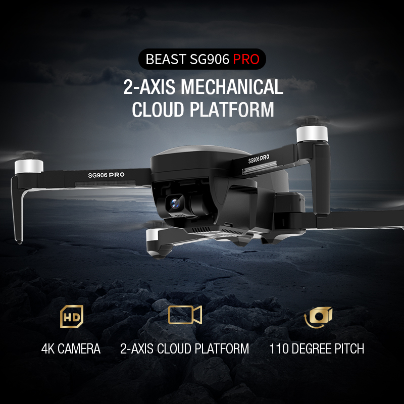 SG906 PRO WiFi FPV GPS Positioning Drone 4K Camera 2 Axis Anti Shake Fixed PTZ Brushless Motor Foldable Remote Control Quadrotor