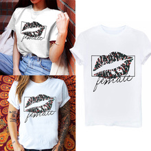 Fashion Elastic Female Casual Short Sleeve Tops Floral Chemise White 1PC Sexy Lips Print Summer T-shirts Loose big yards