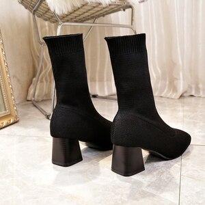 Image 4 - Vrouwen Laarzen Sok Breien Winter 2019 Mode Hoge Hak Schoenen Dames Sok Laarzen Vierkante Hakken Stretch Stof Vrouw Enkellaarsjes