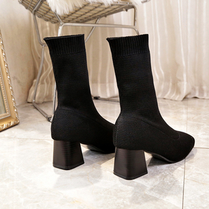 Image 4 - Women Boots Sock Knitting Winter 2019 Fashion High Heel Shoes Ladies Sock Boots Square Heels Stretch Fabric Woman Ankle Booties