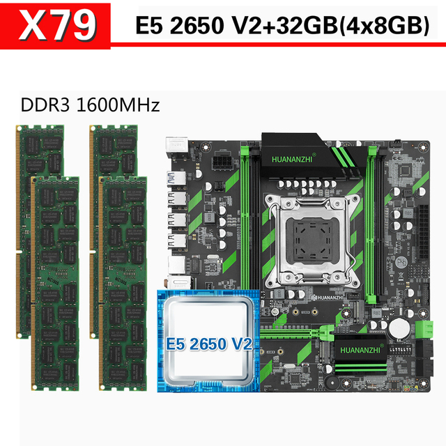 HUANANZHI X79 anakart Xeon E5 2650 V2 4x8GB = 32GB 1600MHz DDR3 ECC REG bellek