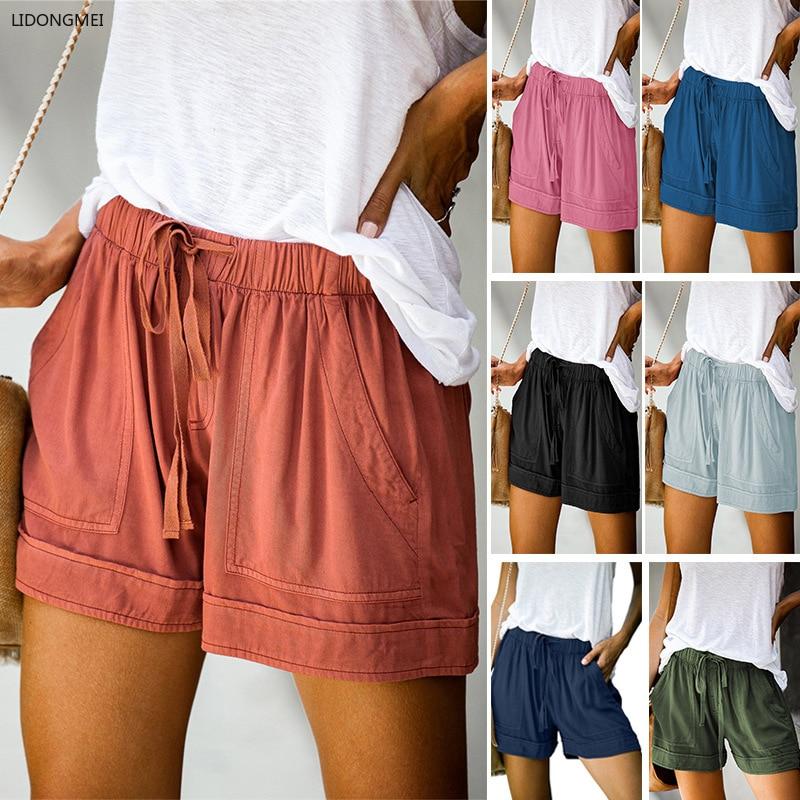 Plus size esportes feminino shorts perna larga cordão cintura elástica rendas até curto verão solto bottoms casual calças soltas tencel 5xl