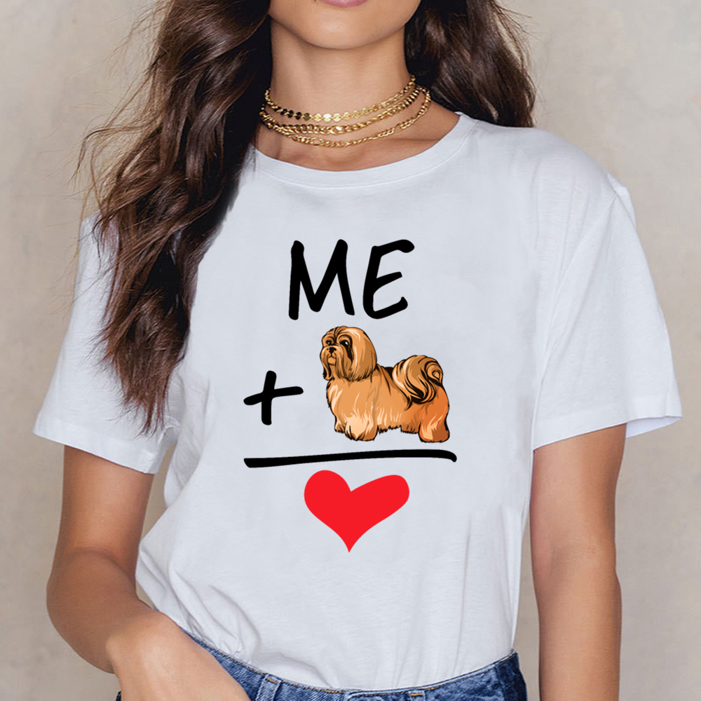 Tops T Shirt Women Me Plus My Shih Tzu Equals Love Cute Dog Owner Fun Hip Hop Vintage Print Female Shirt image