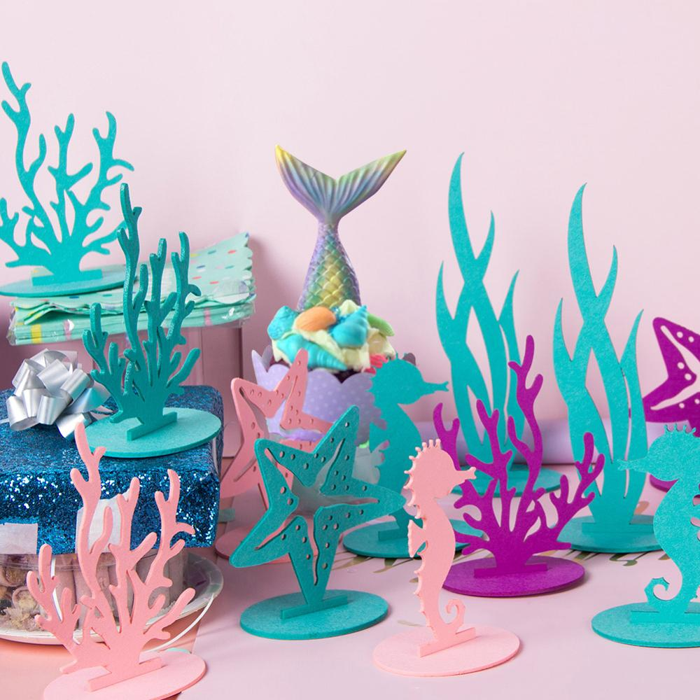 2pcs Mermaid Party Little Mermaid Decoration DIY Felt Table Centerpiece Under The Sea Girl Birthday Party Supplies Baby Shower