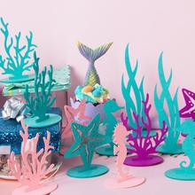 2pcs Mermaid Party Little Decoration DIY Felt Table Centerpiece Under the Sea Girl Birthday Supplies Baby Shower