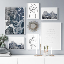 Snow Mountain River Abstract Line Art Landscape Wall Canvas Painting Nordic Posters And Prints Pictures For Living Room