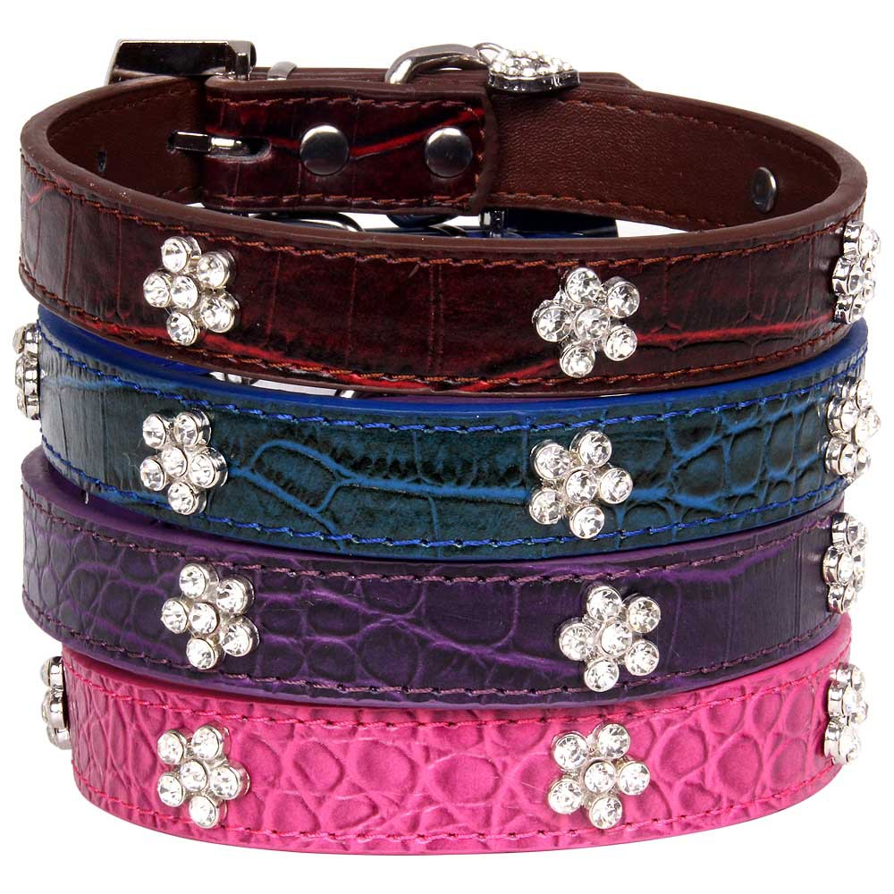 New Products Crocodile Pattern Big Diamond Plum Flower Pet Supplies Hot Selling Dog Neck Ring Hand Holding Rope