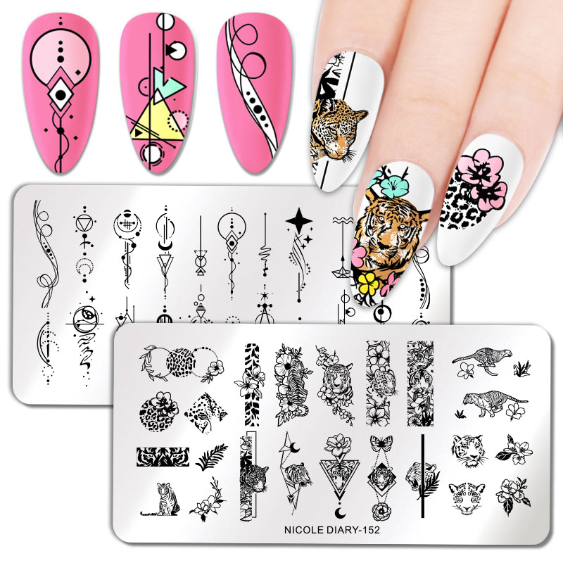 NICOLE DIARY Nail Stamping Plates Flower Rectangle Stainless Steel Nail Image Stencils Stamping Template